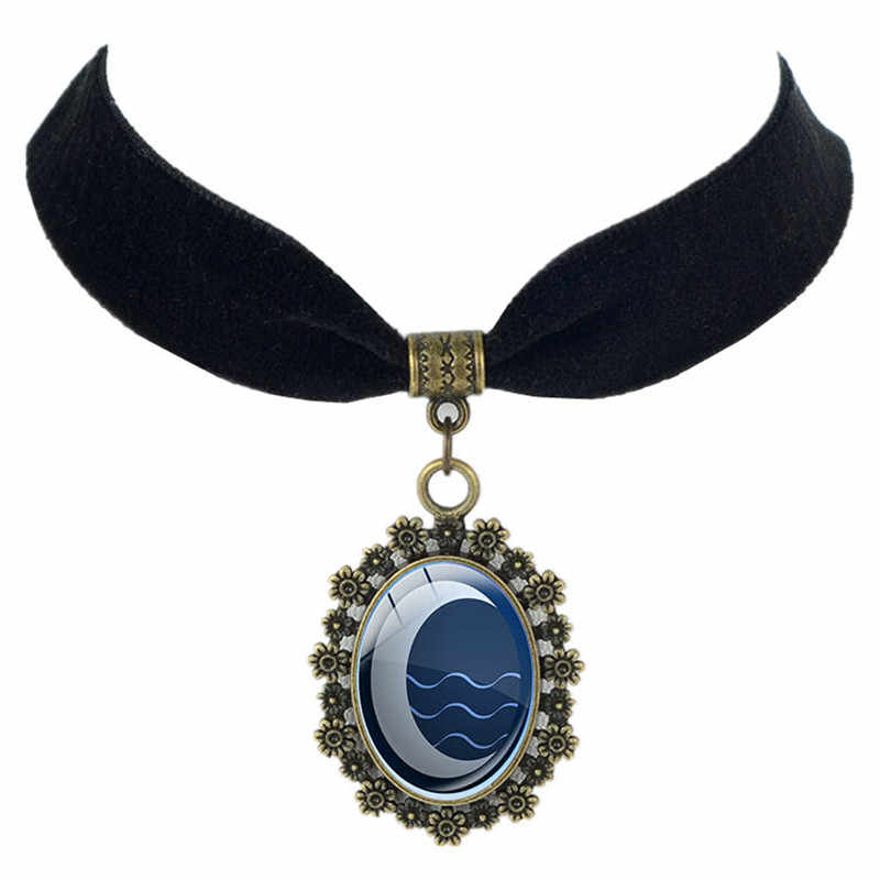 Glass Dome Jewelry  Last Airbender Black Velvet Choker Necklace Fire Nation Pendant Mother and Daughter Gifts