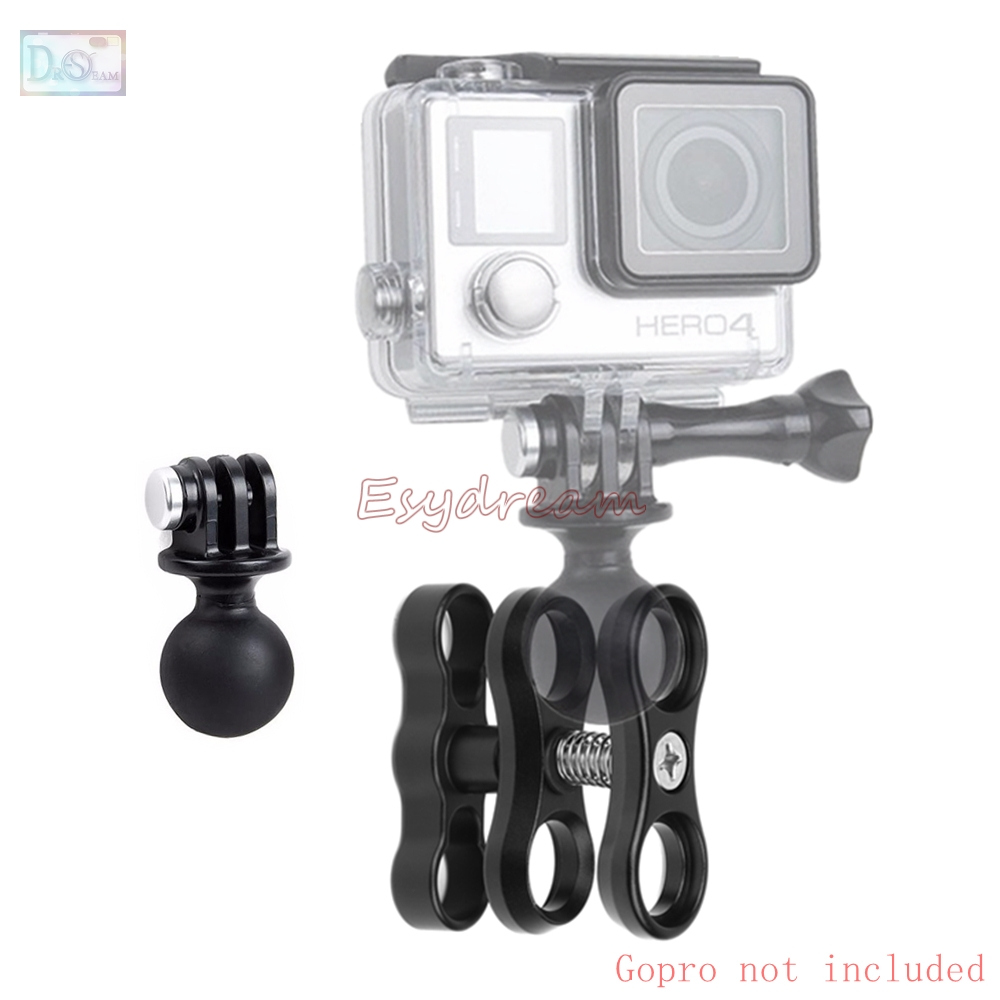 Metal CNC Diving Underwater Lights Ball Clamp Mount Butterfly Clip + ABS Ball Head Base Adapter for GoPro Hero 5 Session 4 3 2