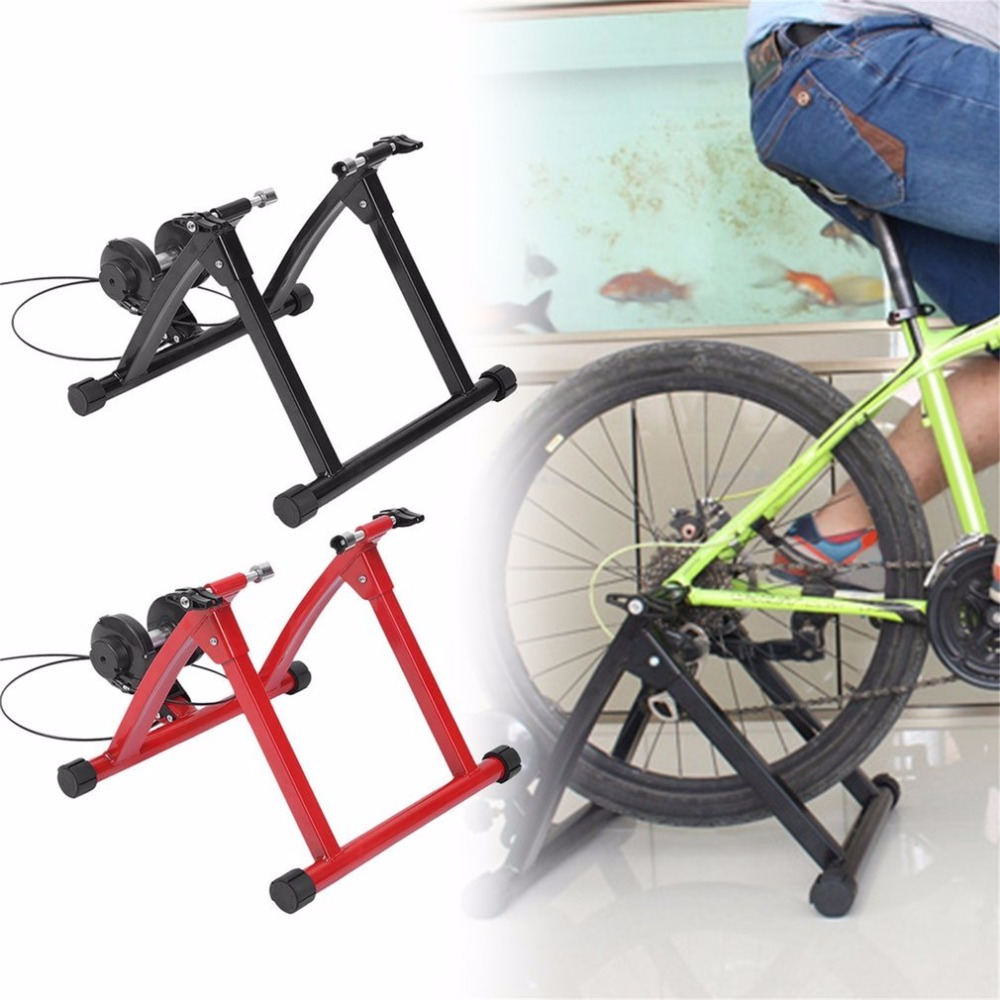 Adjustable Handlebar Indoor Bicycle Trainer Stand Cycling Stationary Training Magnetic Controler Rustproof With Remote Lever Hot cycling bike bicycle handlebar tape belt wrap w bar plug yellow camouflage 2 pcs