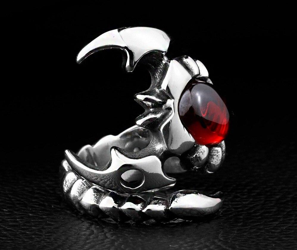 Personality hipster joker scorpion ring wholesale titanium steel inlaid gems men Scorpio ring spot