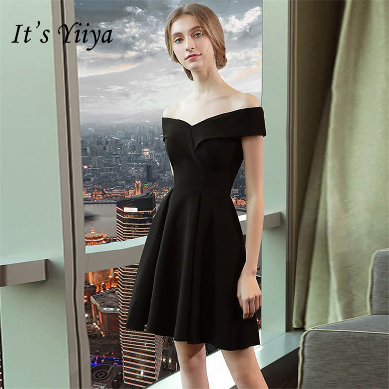 It's YiiYa Little Black Boat Neck Off The Shoulder Backless Stain Zipper   Cocktail     Dresses   Above Knee A-line Party   Dress   LX655