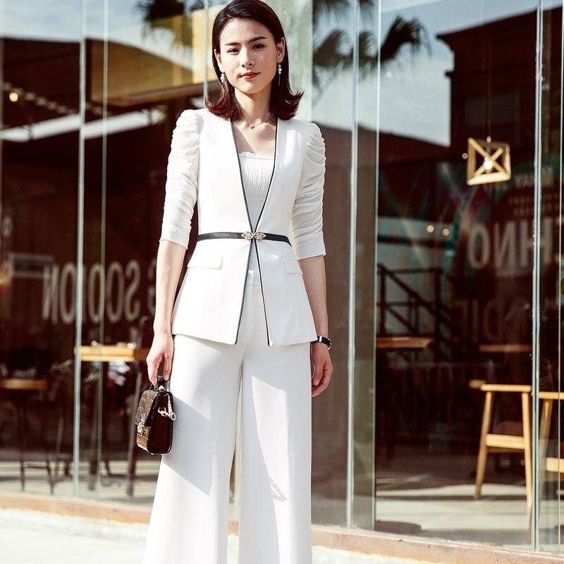 on sale c7082 a19e1 Donna Vestito Bianco Set Con E Moda Nero Il Di Da Pantaloni ...