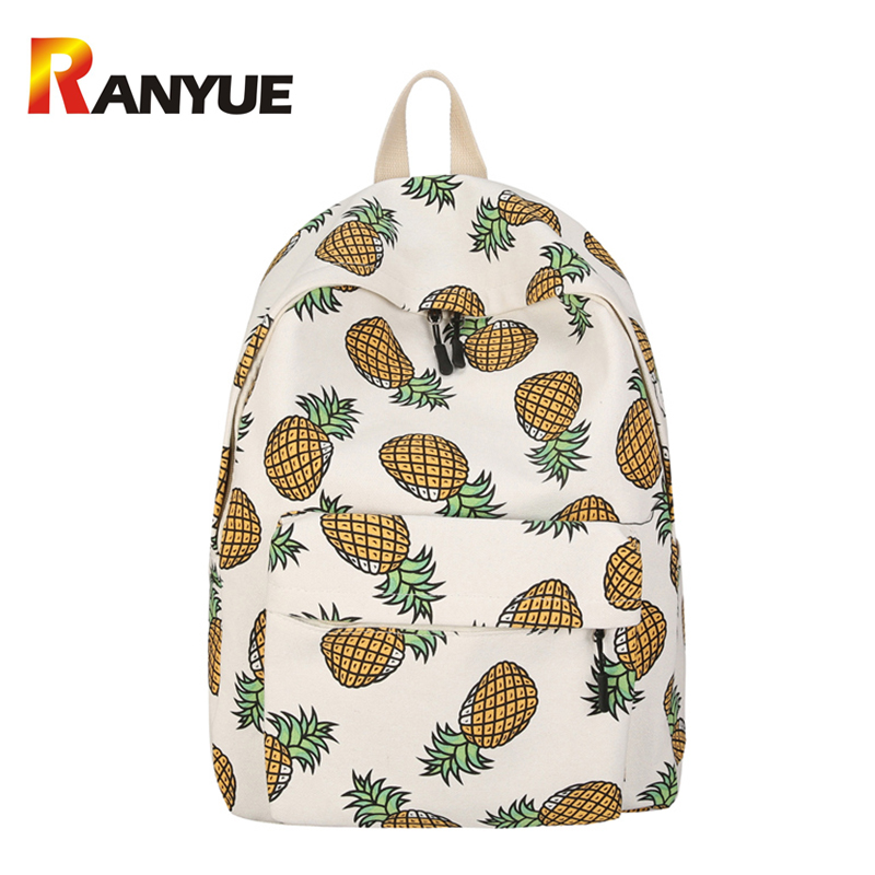 Women Canvas Backpack For Teenagers Girls Boys School Bag Student Cute Pineapple Printing Backpack Book Bags Travel Big Mochila