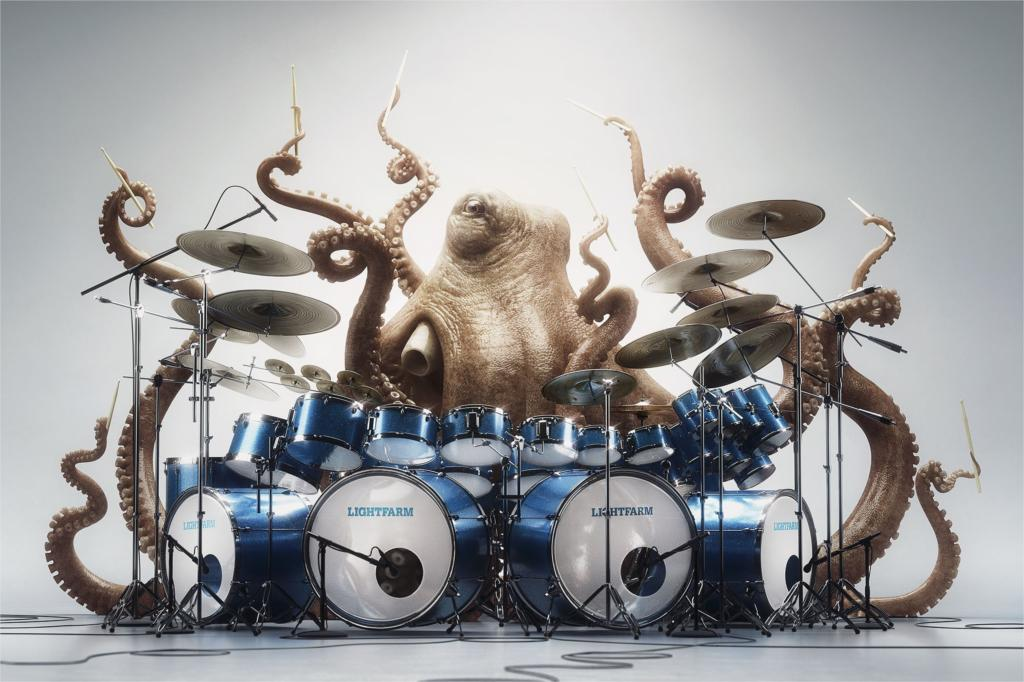 Drums Octopus Music Funny Animal Poster Home Decor Canvas Printed 4 Sizes Free Shipping China