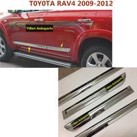 For T0Y0TA RAV4 2009 2012 Car Cover ABS Chrome Side Door Body Trim Stick Strip