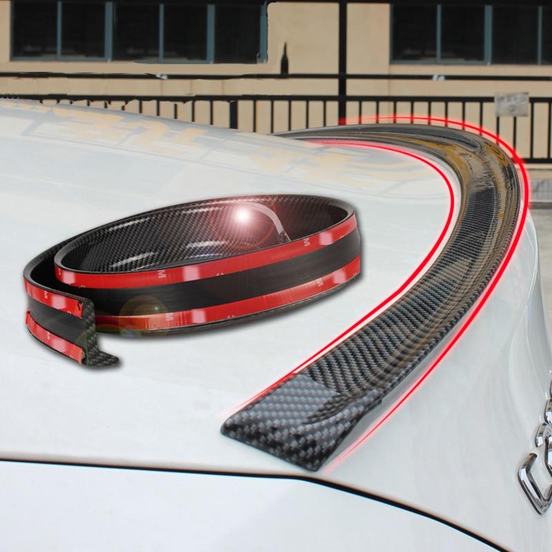 Universal spoiler 1,5 M Auto-Styling 5D carbon rubber schwanz spoiler PU carbon löten DIY refit spoiler geeignet durch alle art von auto