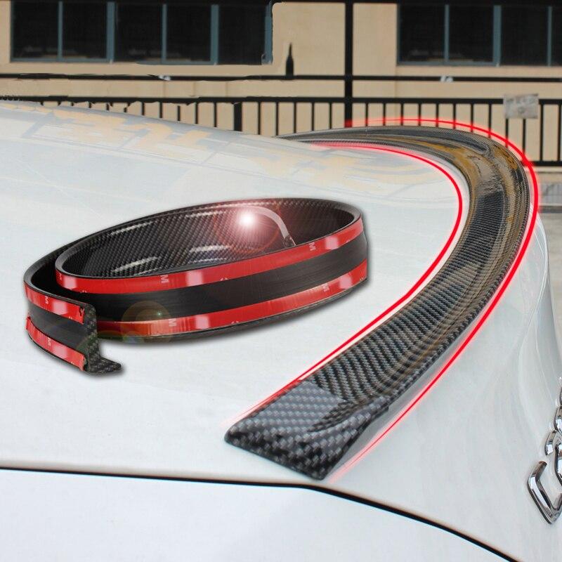 Universal spoiler 1.5 m carro-estilo 5d de borracha de carbono cauda spoiler pu de brasagem de carbono diy reequipamento spoiler adequado por todo o tipo de carro