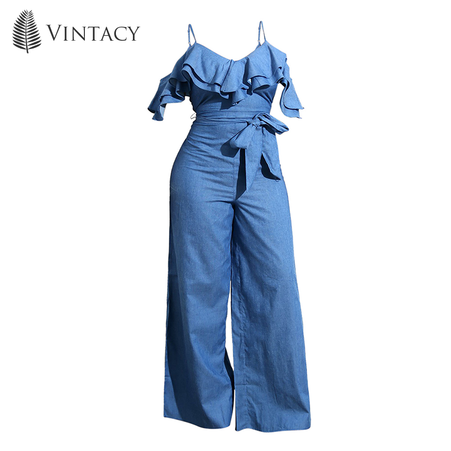 da1fb9ca25ed Women Causal Jumpsuit Long Ruffle Summer Loose Ruffle Strap Overall Elegant  Sexy Holiday Bowknot Blue Denim