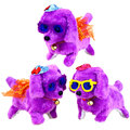 New Battery 20cm Powered Plush Electronic Dog Toy with Hats and Glasses Walking and Barking HT3637