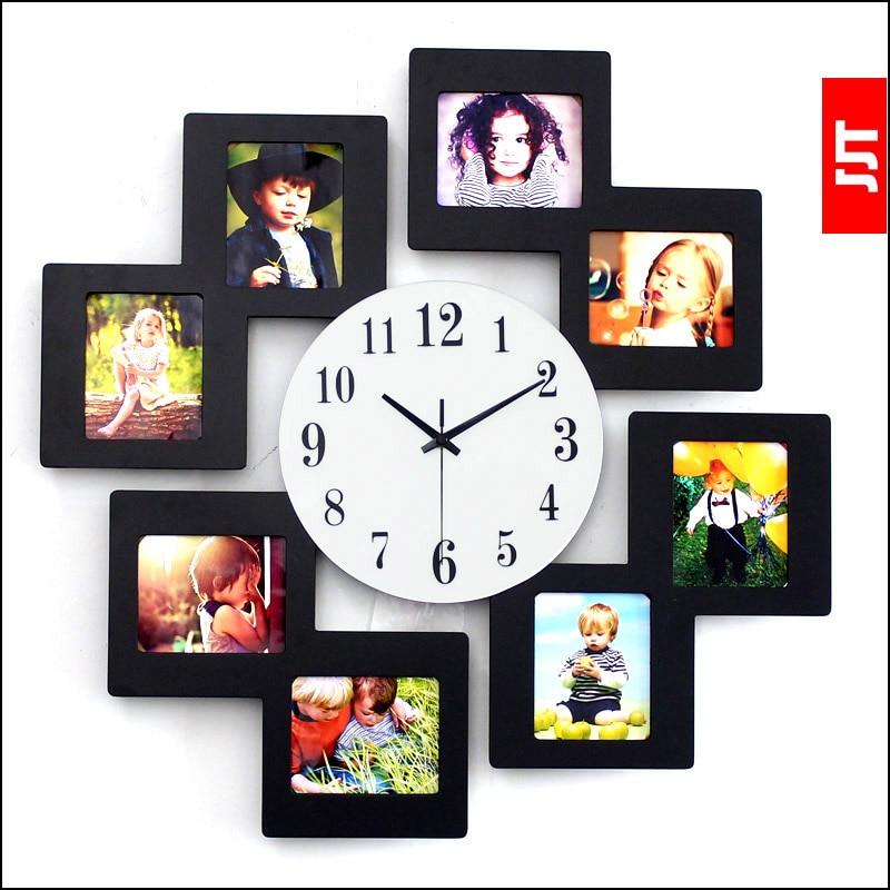 luminousness modern brief fashion wall clock fashion photo frame wall clock large silent watchchina