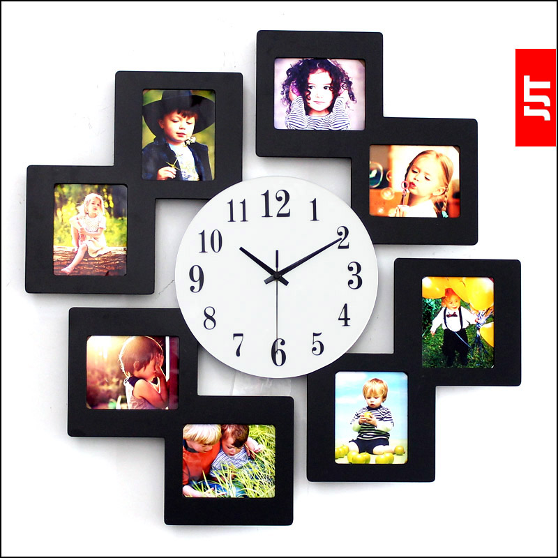 luminousness modern brief fashion wall clock fashion photo frame wall clock large silent watchchina
