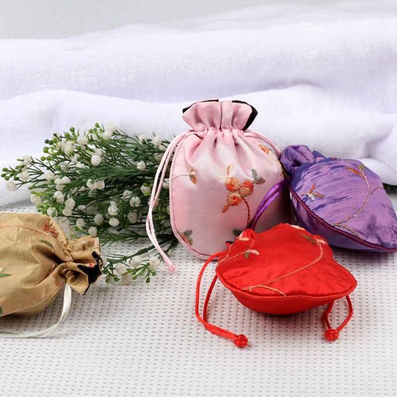 1 шт.. маленький мешочек для ювелирных украшений Мода традиционный Шелковый Дорожный Чехол классический китайский вышитые украшения упаковка сумка органайзер сумки