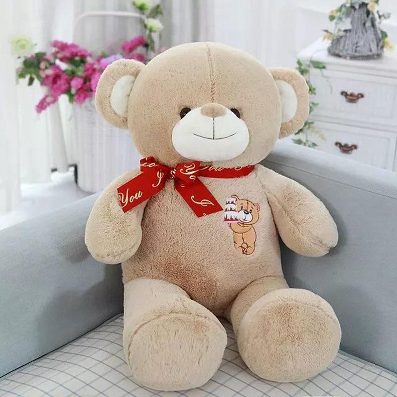 ФОТО 80cm 2017 New Stuffed plush khaki Bear Cloth Doll khaki Teddy bear Bowtie Sleep Pillow Cushion Animals Doll kids gift Drop