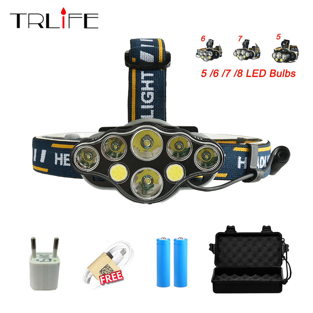 10000Lums COB LED Headlight +CREE XML-T6 Headlamp USB Camping Torch 5/6/7/8 LED+18650 Battery /Cable/Charger/Gift Box sitemap 7 xml