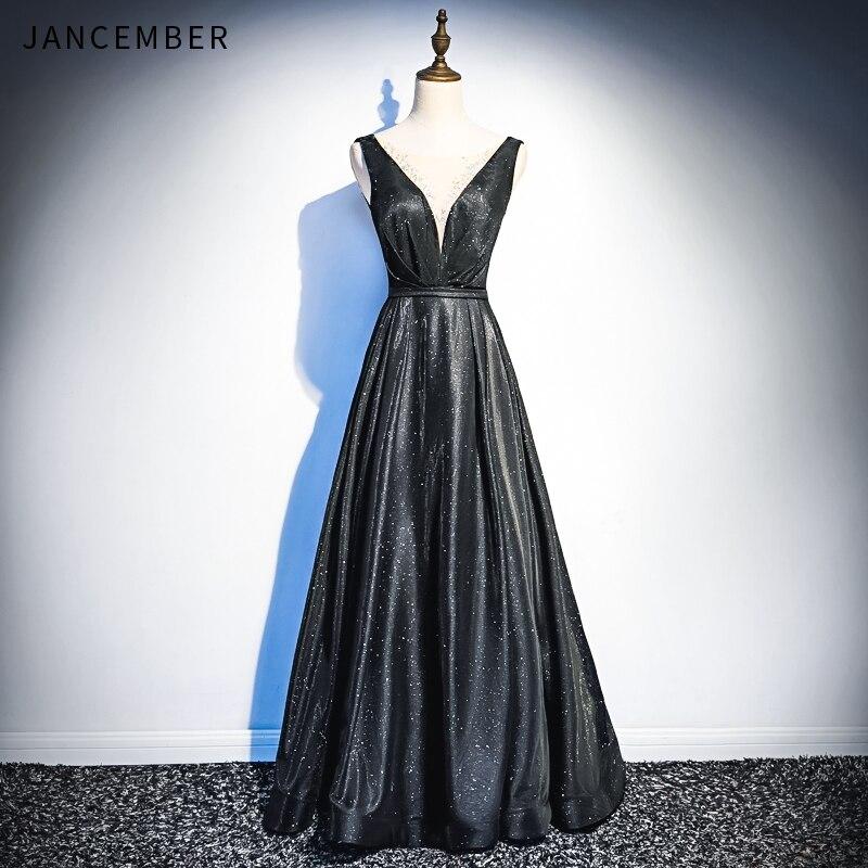 JANCEMBER   Evening     Dresses   Illusion V Neck Backless Lace Up Back Shining Crystal Sleeveless Elegant Classy   evening     dress   2019 New