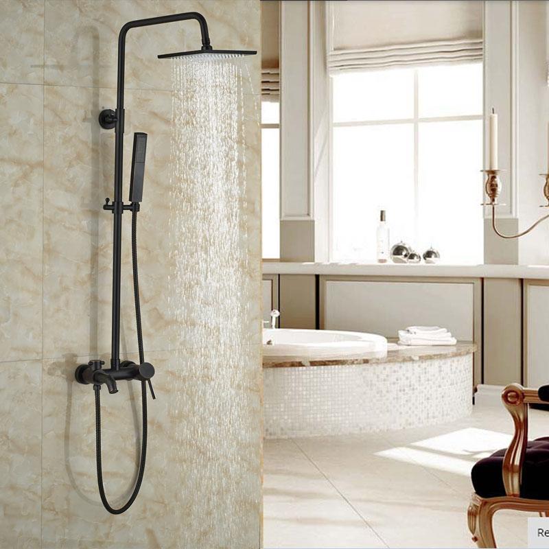 ₪Oil Rubbed Bronze Bath Rainfall Shower Set Single Lever Wall ...