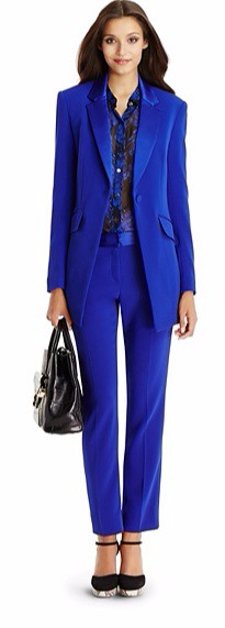 Autumn Winter Office Lady's 2019 Custom Made Jacket Basic Elegant Ladies Office Royal Blue Pant Suits Two Piece Custom Made Suit