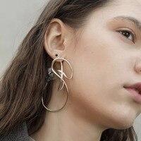WKOUD EAM Jewelry / 2019 New Fashion Irregular Geometric Mosaic Imitation Pearl Stud Earrings Women's Accessories S#R95310