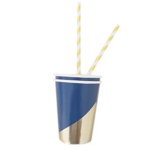 Image 5 - משלוח חינם 8 סטי חיל הים כחול שולחן חד פעמי רדיד זהב נייר צלחות כוסות מפיות עבור תינוק מקלחת יום הולדת ספקי צד