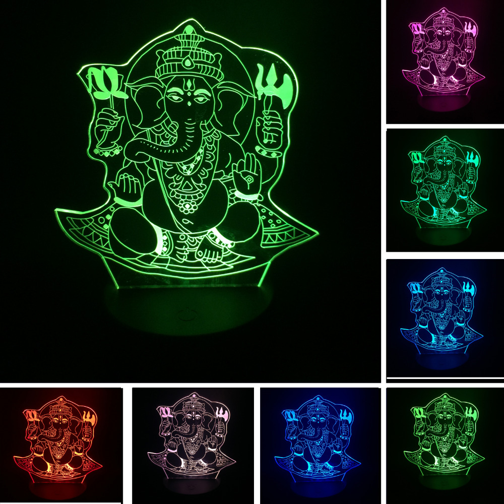Christmas 3D LED Night Light Visual 7 colors illusion India Lord Elephant RGB kid/child Table Desk Lamp Birthday New Year Gifts