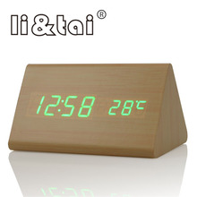 Triangle Wooden Digital LED Alarm Clock Temperature Sounds Control Calendar LED Display Electronic Alarm Clock Table Clocks стоимость