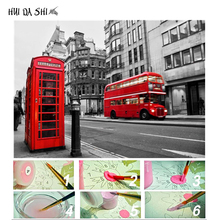 DIY Oil Coloring By Numbers London Streets Red Bus Picture Painting Number On Canvas Home Decor Scenery Wall Art Frame