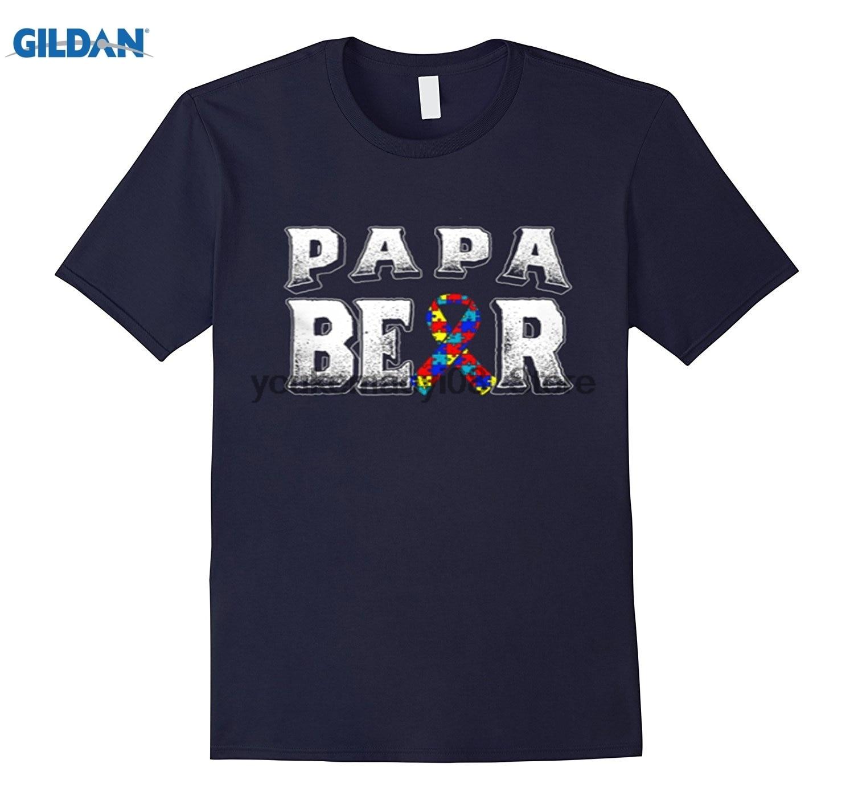 Возьмите хлопок o-образным вырезом Футболка с принтом аутизма осведомленности PAPA Bear рубашка для мужчин