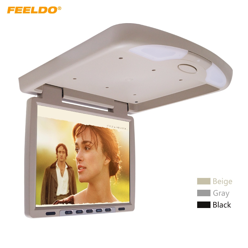 FEELDO DC12V 14.1 Inch Car/Bus TFT LCD Roof Mounted Monitor Flip Down Monitor 2-Way Video Input