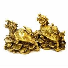 중국 fengshui 황동 드래곤 거북이 거북이 부 럭키 동상 금속 공예 풍수 홈 장식 선물 금속 수공예품