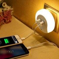 Diseño Inteligente LED AC 110/220V Luz de noche con Sensor de luz y cargador de doble placa de pared USB para baños dormitorio enchufe EU/US|designer night lights|night light|ac night light -