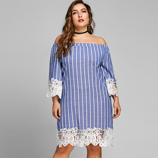 Blue Striped Lace Crochet Summer Long Sleeves Dress Sexy Off