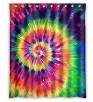 Custom Tie Dye Rainbow Spirals Fractal Bathroom Shower Curtains 100% Polyestey 66 X 72 inch