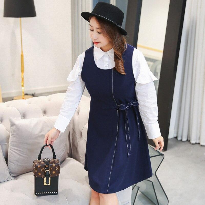 Printemps Bule Longues Manches Taille Plissée Blouse Femme Blanche Sans Grande Et Robe 0856 Pour Wn4U5