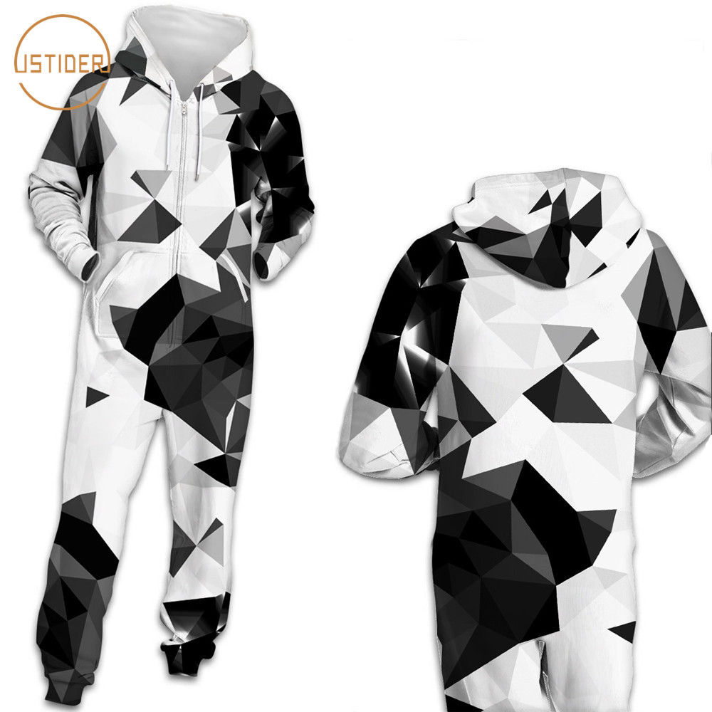 ISTider Geometry Triangle 3D Hooded Romper Jumpsuits Women Men Full Sleeve Casual Sweatpants Playsuits Fashion Zipper