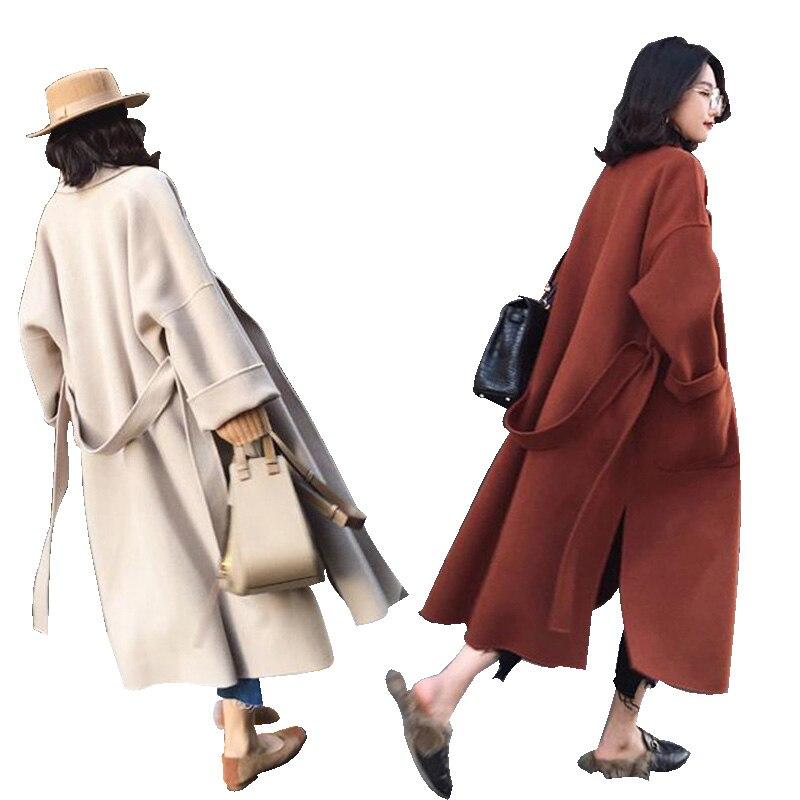 2019 femmes surdimensionné laine Long manteaux mode à manches longues laine manteau haute qualité hiver veste Cardigan élégant vêtements de bureau