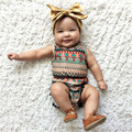 New Born Baby Girls Boys Floral <font><b>Rompers</b></font> Sleeveless Jumpsuit And Headband 2PCS Classic Summer Clothing Wear Outfits