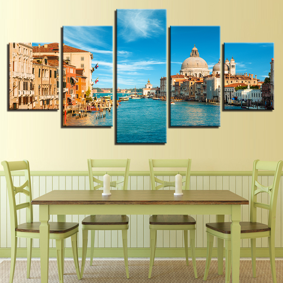Canvas HD Prints Pictures Living Room Wall Art 5 Pieces Venice Italy ...
