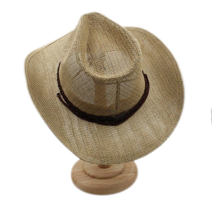 Wanita pria berongga topi koboi pria barat cowgirl jazz sombrero berkuda  cap ayah ratu musim panas cap dengan punk pita di Topi Koboi dari Aksesoris  Pakaian ... 7f4b9587ce