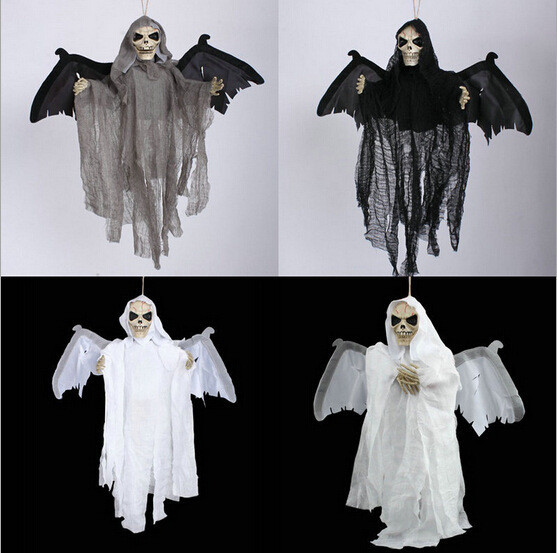 Halloween Ghost Skull Prop Decoration New Voice Control Hanging Ghosts Bats Shock Wings Eyes Shining halloween plastic skeleton frame hanging decoration silver black 4 pcs