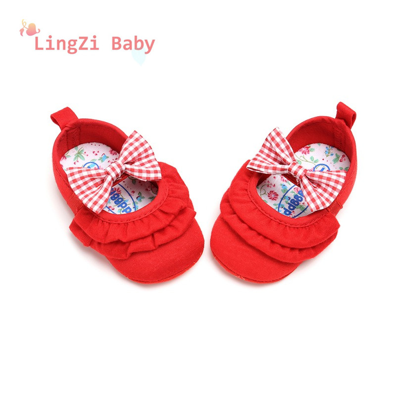 Baby Shoes Newborn The First Walker Shoes Princess Models Girl Bow Lace Baby Anti-Skid Toddler Shoes