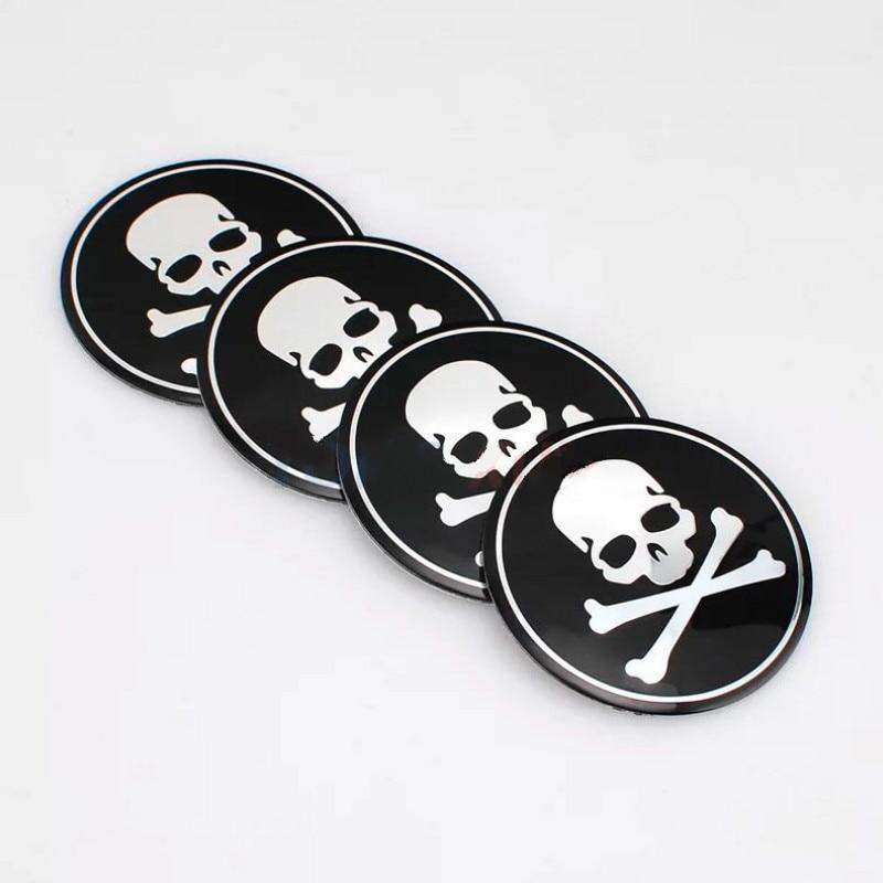 4PCS 56mm Car Wheel Centre Cap Hub Rim S Auto Styling Skull Heads Emblem Car Accessories