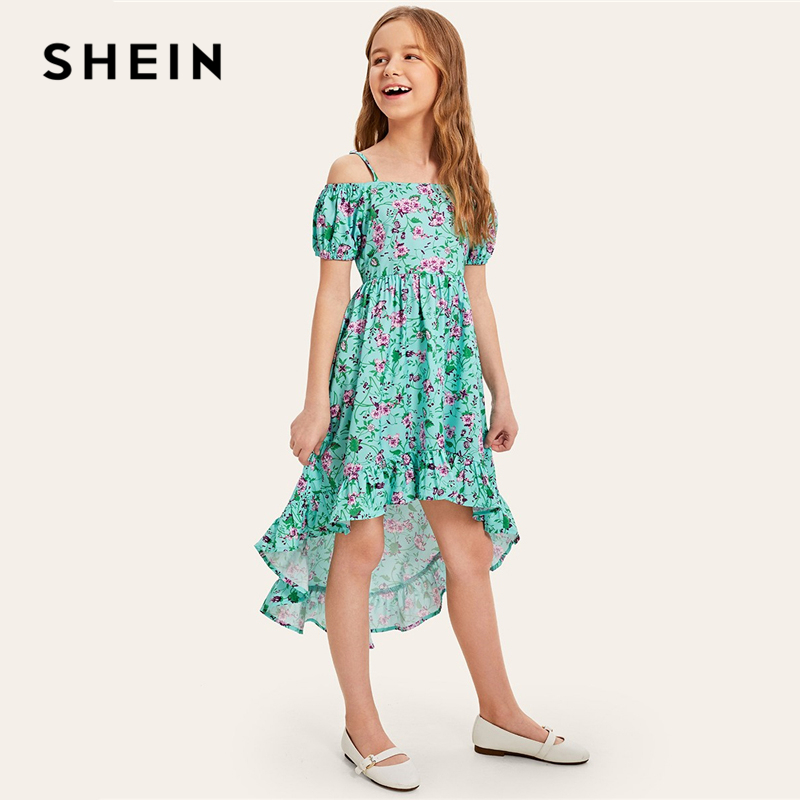 все цены на SHEIN Kiddie Girls Green Floral Print Cold Shoulder Ruffle Holiday Cami Dress 2019 Summer Bishop Sleeve Boho Kids A Line Dresses