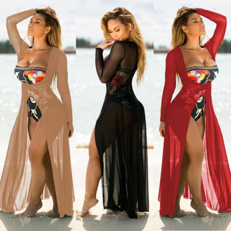 2018 Brand New kobiety Boho pokój podziel długa Maxi plaża, na co dzień, na co dzień, czarna sukienka z szyfonu solidna pokrywa do czerwona plaża bluzka