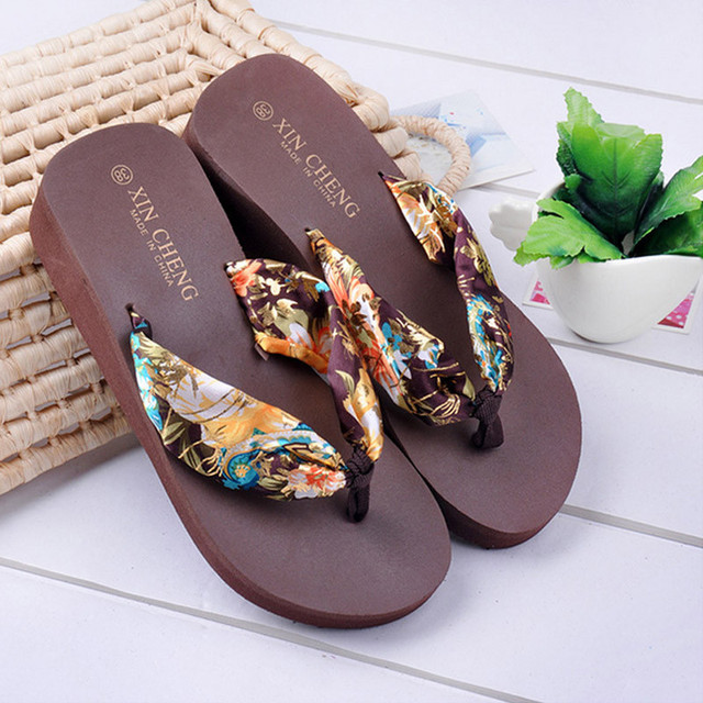 Women Floral Breathable Sandals Wedge Platform Silk Ribbon Slippers Flip Flops