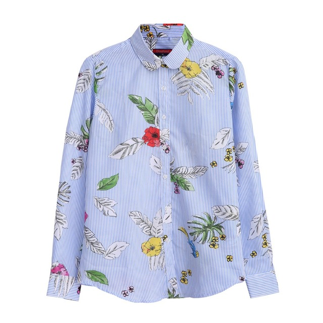 2a9b21aa24a5a Dioufond Flamingo Print Shirts Women Cotton Floral Blouse Green Leaf Casual  Tops Long Sleeve Female Shirt Autumn Ladies Blusas -in Blouses   Shirts  from ...