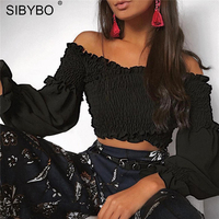 Sibybo New Off Shoulder Draped Ruffles Lantern Sleeve T Shirt Sweet Cool Women Short Tops Casual
