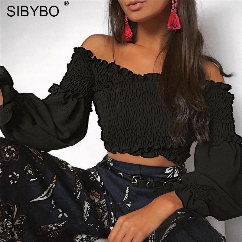 Sibybo New Off Shoulder Draped Ruffles Lantern Sleeve T shirt Sweet Cool Women Short Tops Casual Fashion Shir T-shirt Crop Top