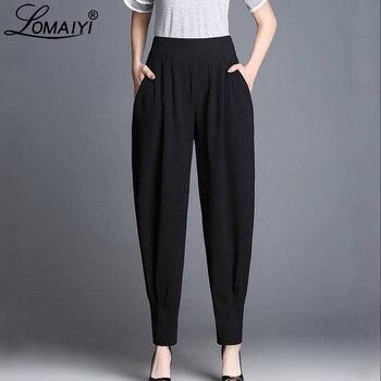 ... pantalones de harén de las mujeres primavera verano de cintura alta  pantalones de las mujeres pantalones de trabajo mujer Bloomers damas de pierna  ancha ... a57d48a9ff1