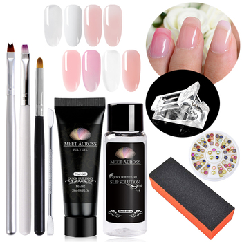 MEET ACROSS 9pcset Crystal Jelly Gum Poly Gel Set  Nails Build Extending Nails Kit Uv Gel French Nails Art Manicure Tips artificial nails