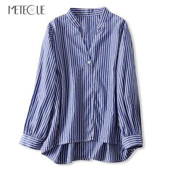 29aafb79e Todo-fósforo rayas suelto de manga larga con cuello en V de mujer blusa de  algodón 100% detrás de blusa botón camisa de las mujeres de Primavera Verano  de ...
